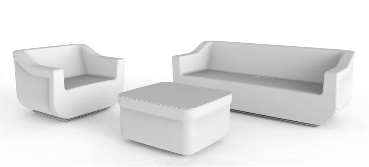 Cliff Set, Polyethylene garden armchair, sofa and coffee table