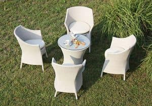 Frodo set, Braided chair and table, aluminum structure, outdoor use