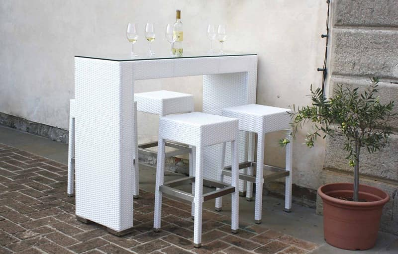 Harley set, High table in braided polyethylene, ideal for cocktails