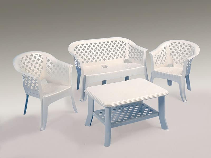 Lario set, Sofa and armchairs in resin, for garden