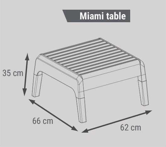 Living Room Garden Resina Bar Coffee Table 4 Seater Back Raised MIAMI, Outdoor set with side table and sofas