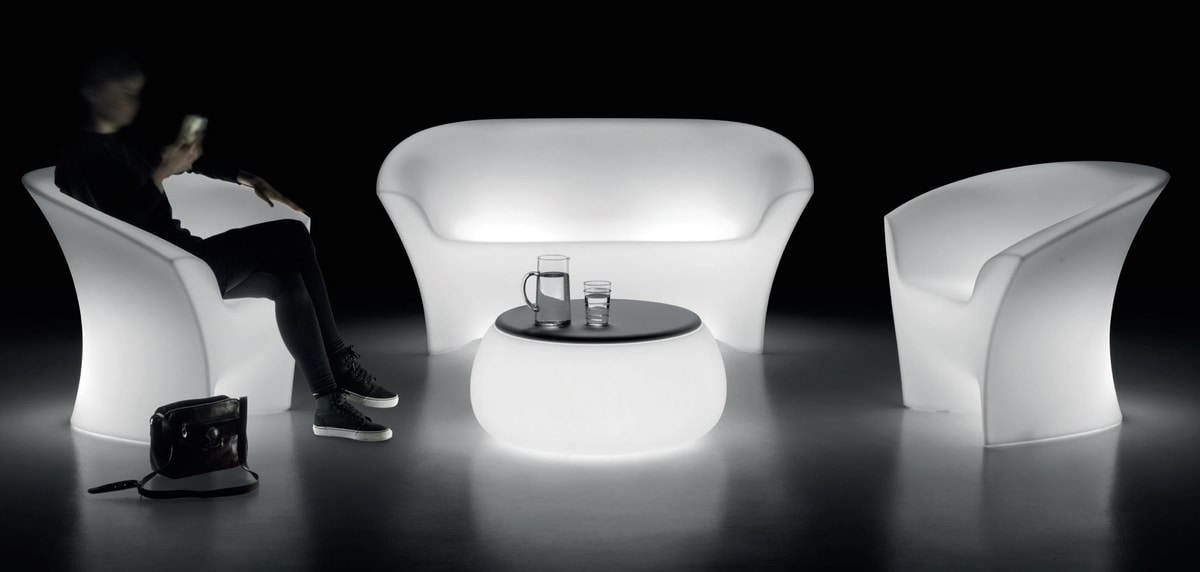 LT 2016 SET, Polypropylene seating set with lighting