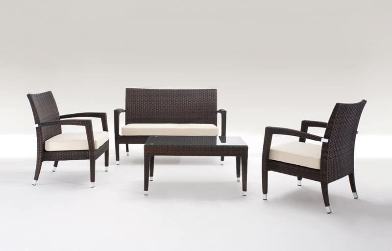 Malibù Set, September outdoor furniture, fully woven, for gardens and bars