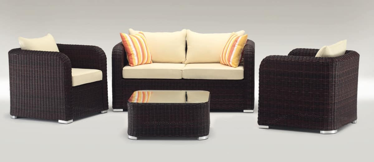 Nizza Set, Outdoor set with sofa, armchair and coffee table, twisted