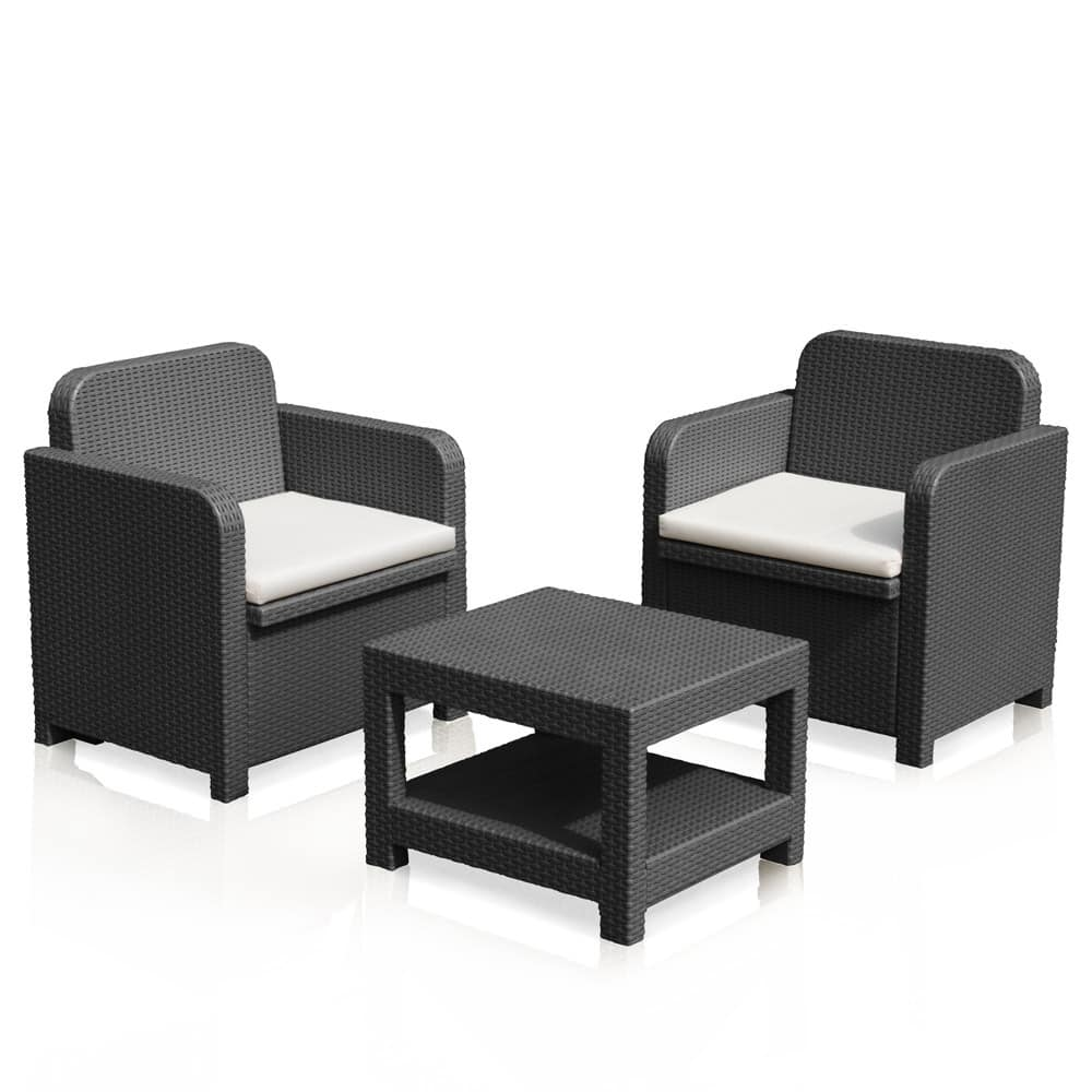 Set Rattan Sorrento Grand Soleil.Garden Set With 2 Armchairs And A Coffee Table In Rattan