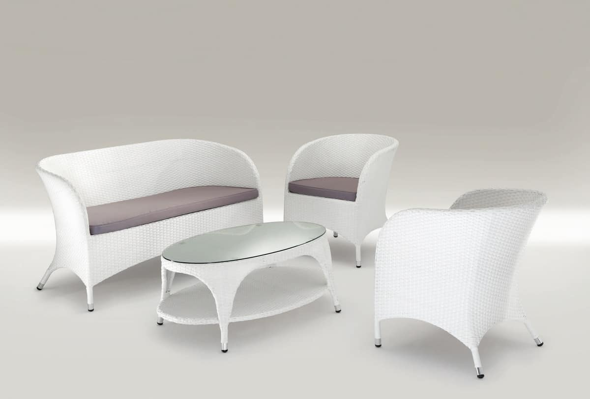 Pola Set, Set outdoor furniture, woven aluminum, for bars