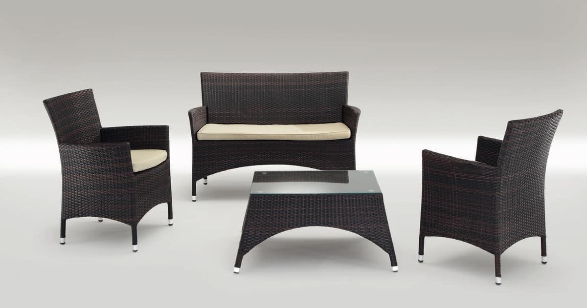San Diego Set, Modern seats and table aluminum, for outdoors