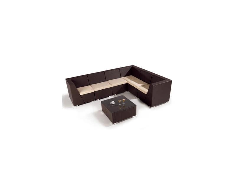 Set Lotus, Modular sofa and coffee table for outdoor