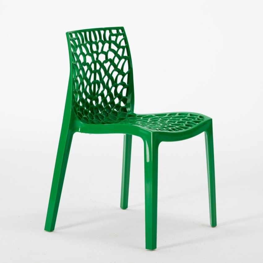 Tavolino Quadrato Bianco 70x70cm Con 2 Sedie Colorate Interno Esterno Bar GRUVYER PATIO, Garden set with table and chairs