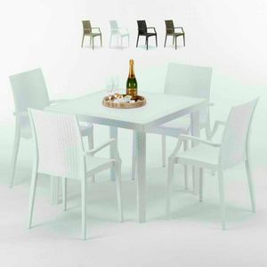 Tavolino Quadrato Bianco 90x90 Con 4 Sedie Esterno Bar ARM BISTROT LOVE, Garden set with table and chairs