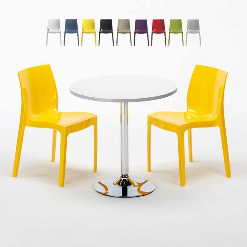 Tavolino Rotondo Bianco 70x70cm Con 2 Se Colorate Interno Bar Ice Long Island Garden Set