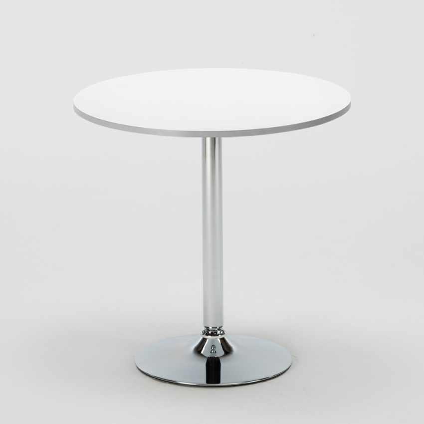 Tavolino Rotondo Bianco 70x70cm Con 2 Sedie Colorate Interno Bar PARIS LONG ISLAND, Garden set with table and chairs