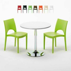Tavolino Rotondo Bianco 70x70cm Con 2 Sedie Colorate Interno Bar PARIS LONG ISLAND, Garden set with table and chairs