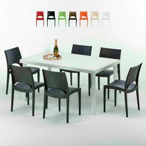 Tavolo Rettangolare Bianco 150x90 Con 6 Sedie Esterno Bar PARIS SUMMERLIFE, Garden set with table and 6 chairs