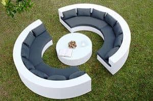 Uranio set, Semicircular sofa and round table for outdoor use