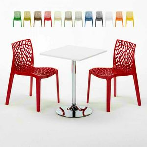 White Square Coffee Table 70x70cm With 2 Colored Chairs Inside Bar GRUVYER COCKTAIL, Garden set with table and chairs