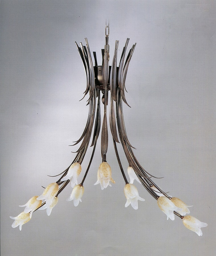 744114, Chandelier with flower-shaped diffusers
