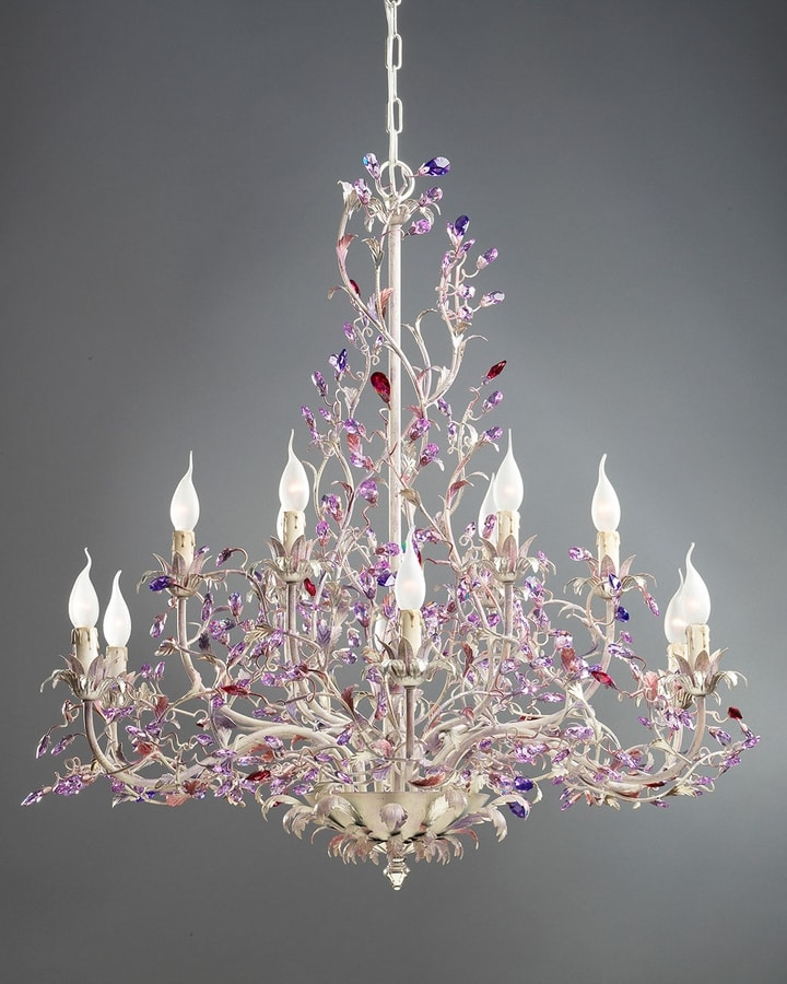 912112/V, Chandelier with decorative crystals