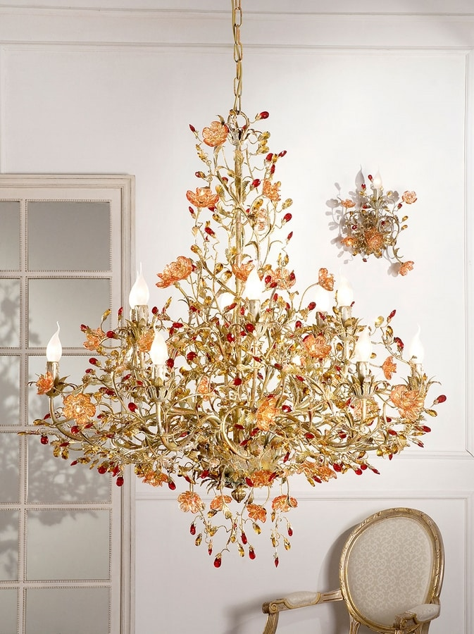 937112+10, Luxurious chandelier with Murano glass
