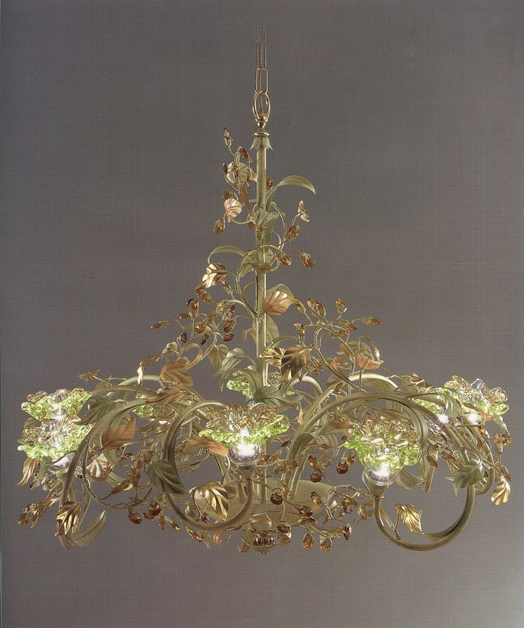 95218, Chandelier with decorative leaves