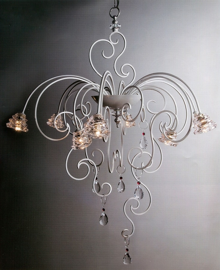 98419/P, Chandelier with white metal structure
