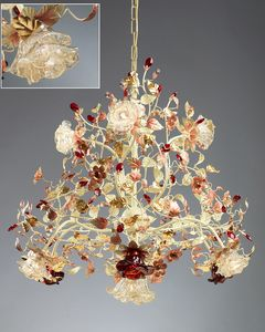 986110, Chandelier with Murano glass diffusers