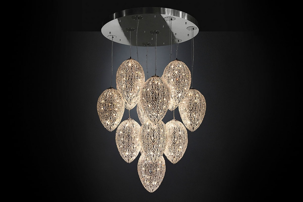 Arabesque Egg 14, Cluster chandelier