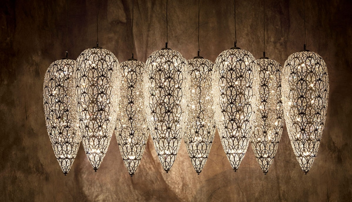 Arabesque Lightfall Sensation x 8, Extra large chandelier