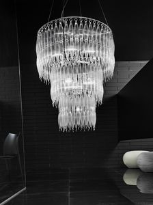 ARENA Ø 90, Large chandelier in Pirex striped glass