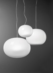 Aria, Suspension lamp in white blown glass