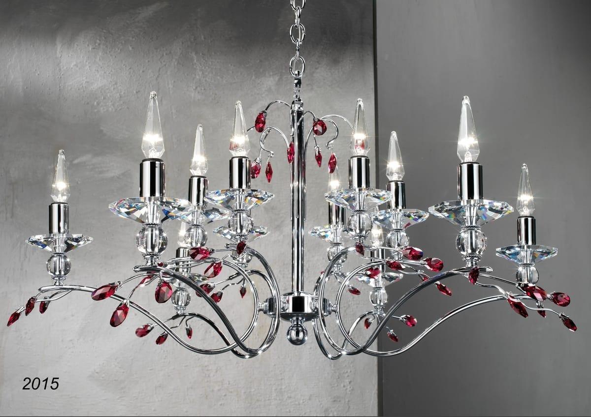 Art. 2015 Soiree, Chromed brass and crystal chandelier