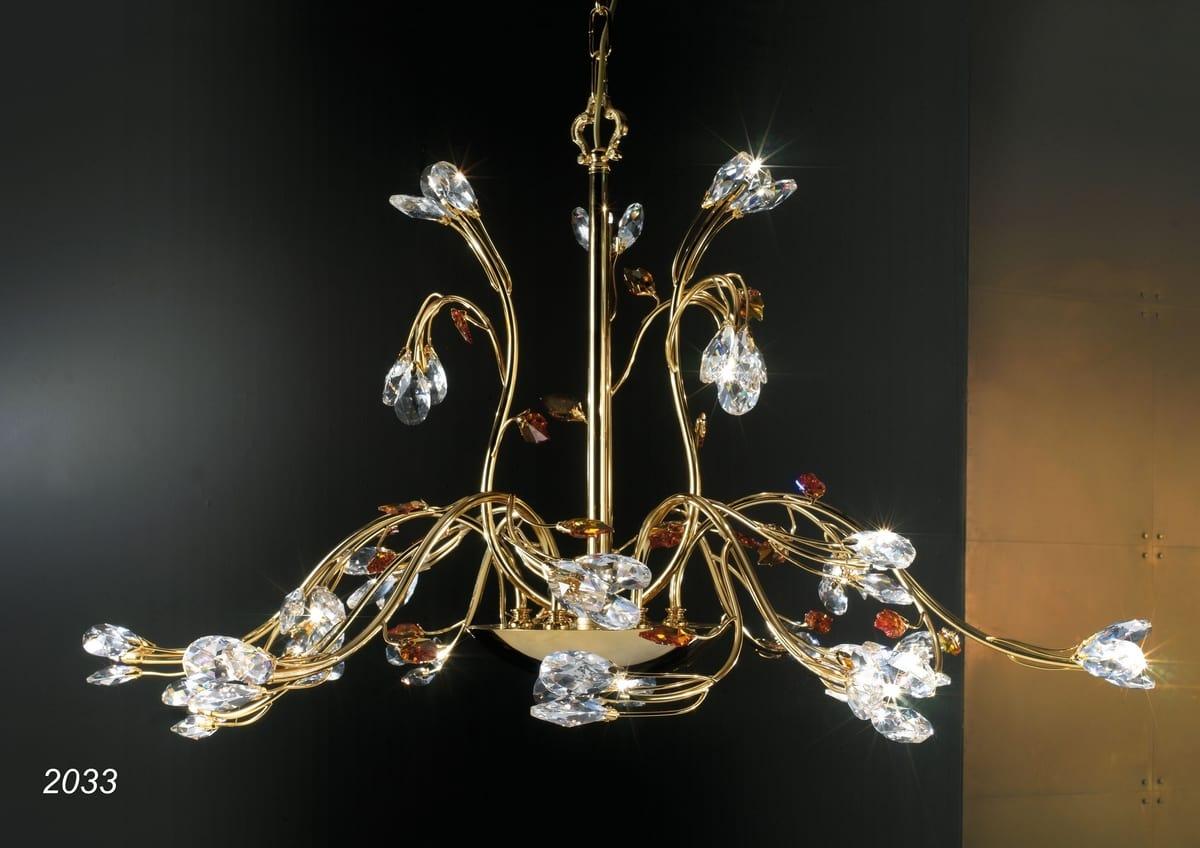 Art. 2033 Matisse, Chandelier in 24kt golden brass and crystal
