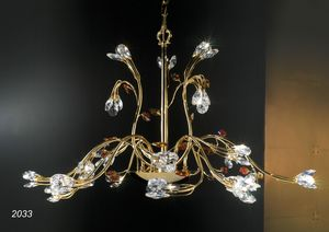Art. 2033 Matisse, Chandelier in 24kt golden brass and crystal