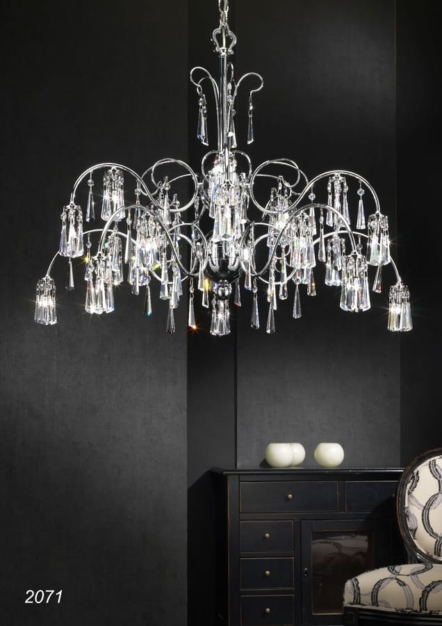 Art. 2071 Orion, Elegant chandelier with hanging crystals