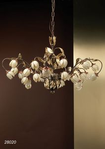 Art. 28020 Fior di Loto, Elegant chandelier decorated with blown glass flowers