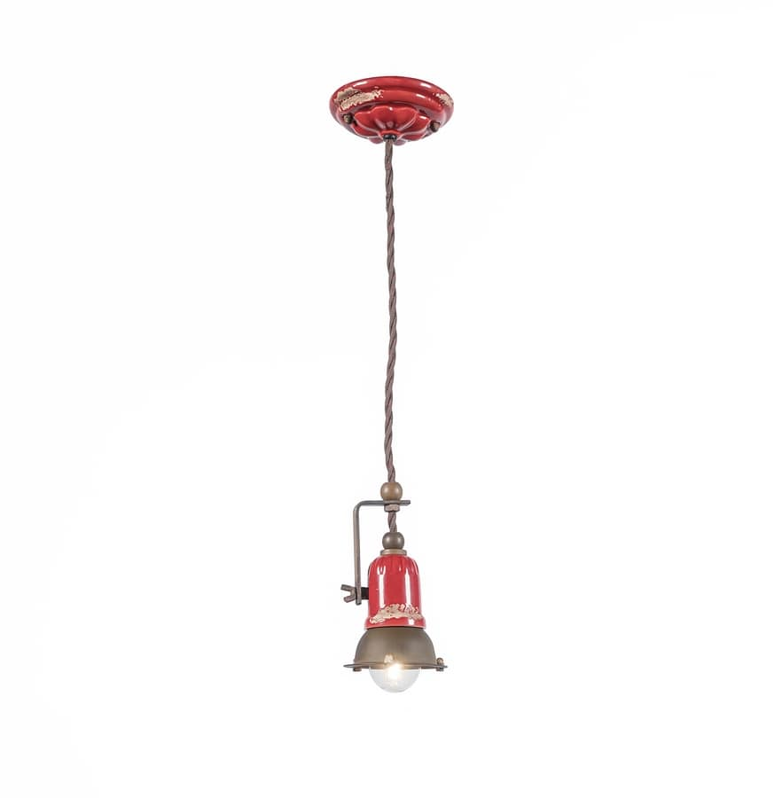 Art. L 86, Red chandelier with retrò style