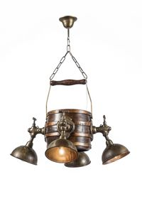 Art. L 90, Country chandelier with faucet-shaped lights