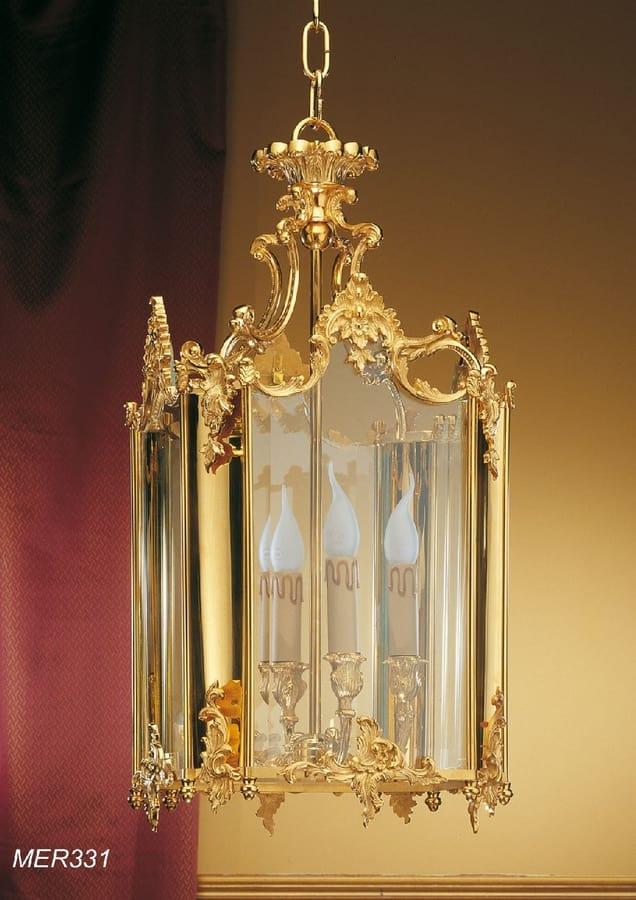 Art. MER 331, Classic lantern in golden brass