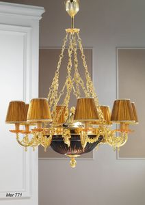 Art. MER 771, Chandelier made in gold plated 24kt brass and crystal bowl