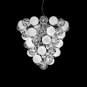 Atmosphera SS2800_08-51-WJ-N, Suspension lamp with white and decorated glass spheres
