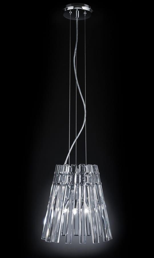 CIRCLE Ø 32, Pendant lamp with transparent crystal pendants