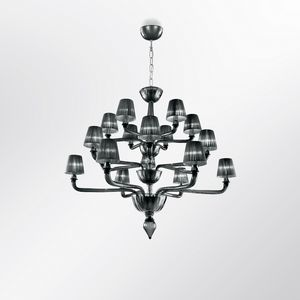 Coco DP0371-6+6+6, Customizable glass chandelier with lampshades