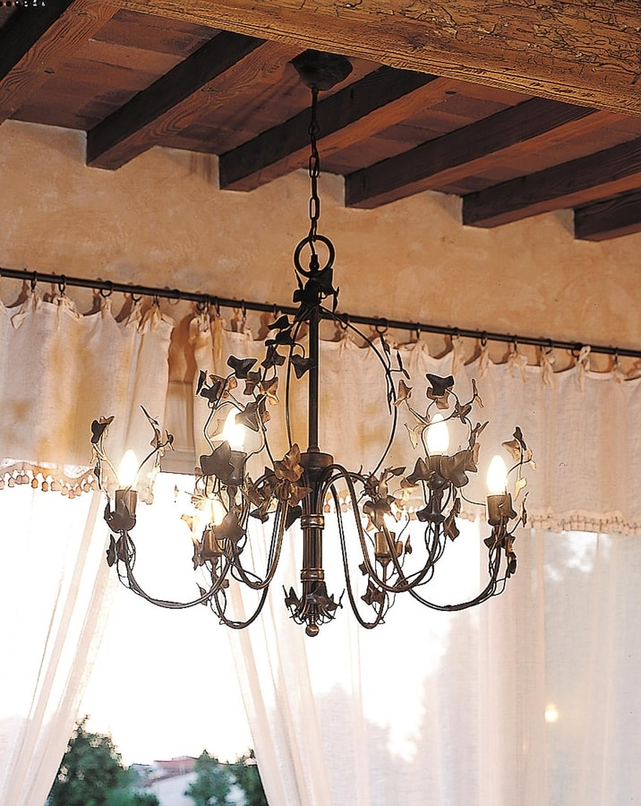EDERA HL1047CH-6, Iron chandelier with leaves