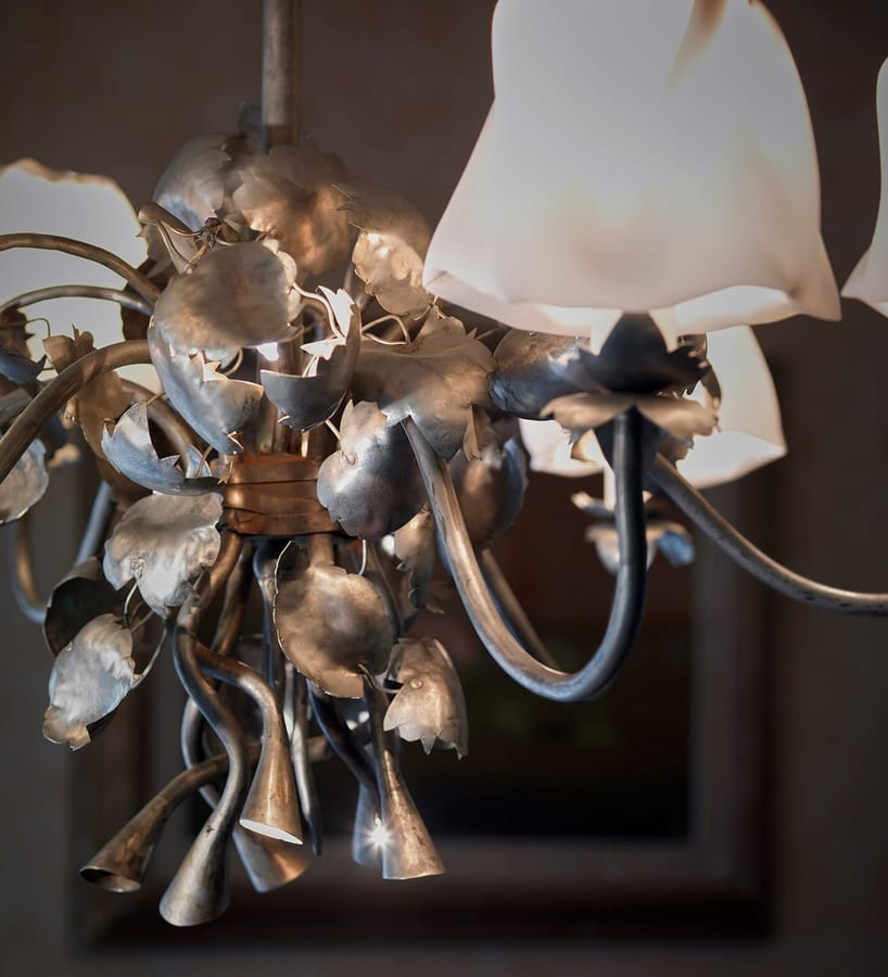 EDRA HL1009CH-6, Chandelier in forged iron and lampshades