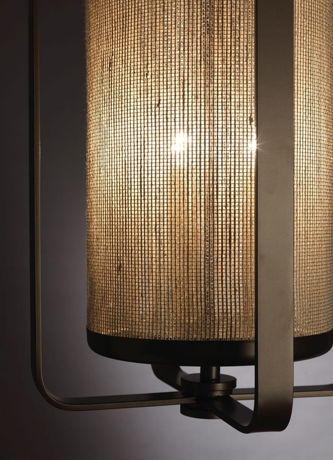 FASCE HL1087CH-3, Brass lantern with fabric lampshade