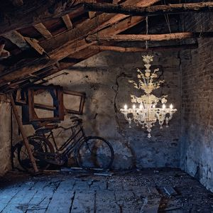 Fenix S0170-6-CK, Chandelier in transparent and gold glass with crest