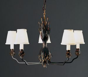FETTUCCE HL1032CH-5, Iron chandelier with fabric lampshades