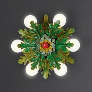 FOGLIE HL1064PL-6, Ceiling lamp in iron with decorative leaves