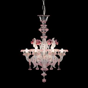 Galliano L0402-6-CRZ-MB, Glass chandelier with pink reflections