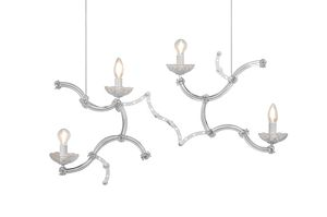 Ghebo SE146 2 INT, Suspension lamp, in Murano glass and metal
